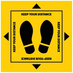 Feet Keep Your Distance Square Floor Stickers - Pack of 6