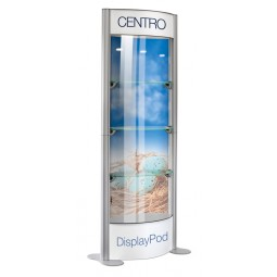 Centro display Pod with printed header, Foot and rear infill panels  (each unit is supplied with 8 clear panels )