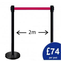 2m Retractable Belt Barrier Pair - Black Post / Red Tape