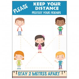 Keep Your Distance 2m Apart - Pack of 10 - A2 Poster or Sticker for Schools