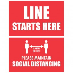 Line Starts Here Social Distancing - Pack of 10 - A2 Poster or Sticker