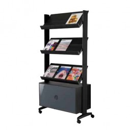 Magazine Display Stand with storage cabinet