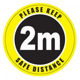 Please Keep 2m Safe Distance Floor Stickers - Pack of 6