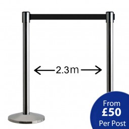 QueueWay Retractable Barriers - Silver Post / Black Belt