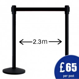 2.3m Retractable Belt Barrier - Black Post / Black Belt