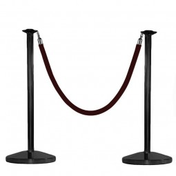 Black Rope Barrier Post for Queue Control
