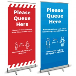 Please queue here banner stand