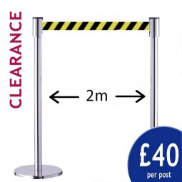 2m Clearance Barriers - Pair of Silver Posts with Yellow/Black Belt
