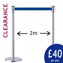 2m Clearance Barriers - Pair of Silver Posts with Blue Belt