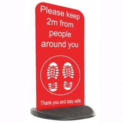 Social Distancing Ecoflex Pavement Sign - Please Keep 2m - Red