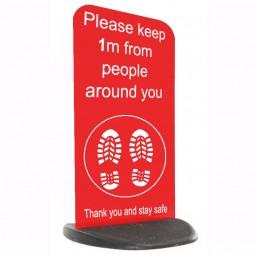 Social Distancing Ecoflex Pavement Sign - Please Keep 1m / 2m - Red