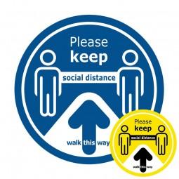 Walk This Way Social Distance Floor Sticker - Pack of 6