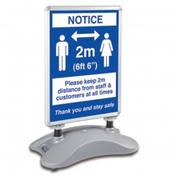 Economy Double sided free standing Social Distancing Sign