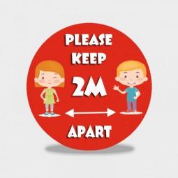 Please Keep 2m Apart - Schools Social Distancing Floor Stickers - Pack of 6