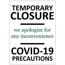 Temporary Closure COVID-19 - Pack of 10 - A2 Poster or Sticker