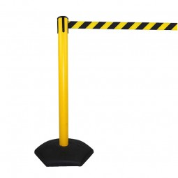 Yellow Retractable Outdoor Queue Barrier with Black/Yellow Belt