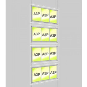 4x A3 Triple Portrait Illuminated Cable Display