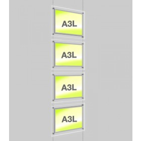4x A3 Single Landscape Illuminated Cable Display