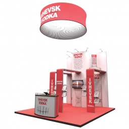 An eyecatching island stand with stand out hanging display