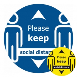 Please Keep Social Distance Zoomed Floor Sticker - Pack of 6