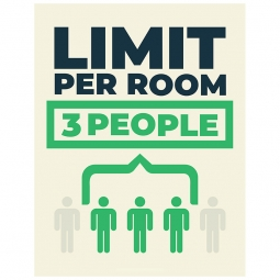 Limit Per Room 3 People - Pack of 10 - A2 Poster or Sticker