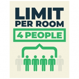 Limit Per Room 4 People - Pack of 10 - A2 Poster or Sticker