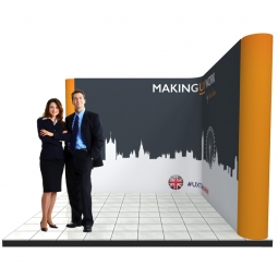L shaped pop up stand system for 3m x 3m stands