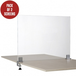 Pair of Clear Perspex Desk Divider Screens