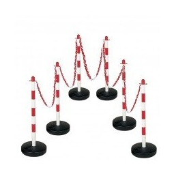 Plastic Chain Barrier - Water Base 6 Posts 10m Chain