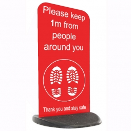 Social Distancing Ecoflex Pavement Sign - Please Keep 1m / 2m - Red