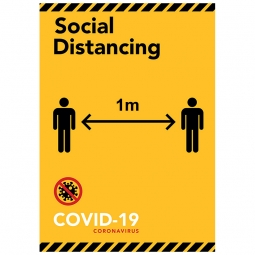 Social Distancing 1m Yellow/Black - Pack of 10 - A2 Poster or Sticker