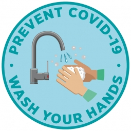 Prevent COVID-19 Wash Your Hands Blue Floor Stickers - Pack of 6
