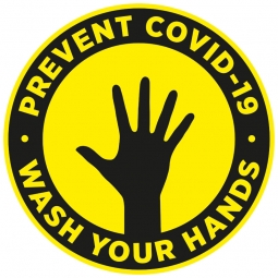 Prevent COVID-19 Wash Your Hands Floor Stickers - Pack of 6
