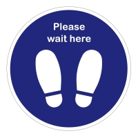 Please Wait Here Social Distancing Floor Stickers - Pack of 6