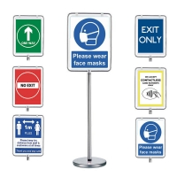 Covid sign holder with different poster options