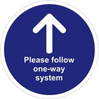 Please Follow One Way System Floor Stickers - Pack of 6