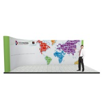 Large linked pop up stand system