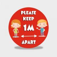 Please Keep 1m Apart - Schools Social Distancing Floor Stickers - Pack of 6