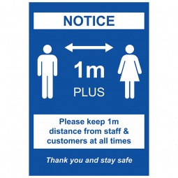 1m Social Distancing Notice - Pack of 10 - A2 Poster or Sticker