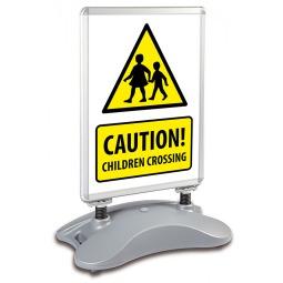 School A1 Windjammer Pavement Sign - Caution Children Crossing