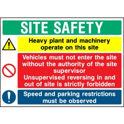 Individual Site Safety Multi Message Heavy Plant and Machinery Sign - Correx | Foamex | Dibond