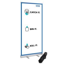 800mm Wide Banner Stand - Coronavirus Design 1