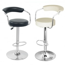 Bar Stools UK - Black and Cream Faux Leather Bar Stool