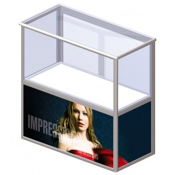 Folding portable display counter with optional printed graphics