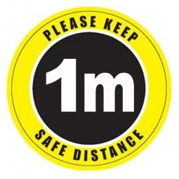 Please Keep 1m Safe Distance Floor Stickers - Pack of 6
