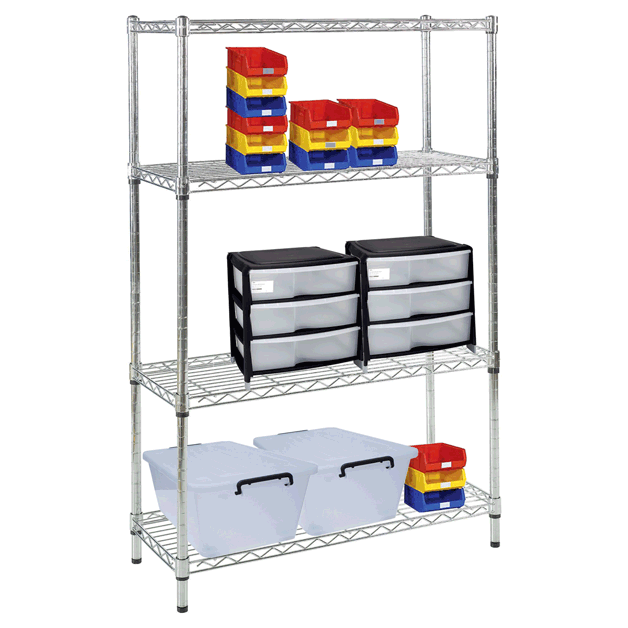 chrome metal shelves