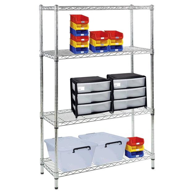 chrome metal shelves